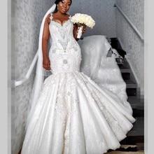 Luxo frisado sereia vestidos de casamento dubai espaguete cristal plus size vestidos de casamento sexy voltar vestido de noiva africano