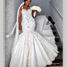 Luxus Perlen Meerjungfrau Hochzeit Kleider Dubai Spaghetti Kristall Plus Größe Hochzeit Vestidos Sexy Back Afrikanische Braut Kleid