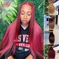 Бразильские волосы Remy для наращивания, 30 дюймов, цвета 1B/2/4/27/99J/Burgundy, пучки прямых и волнистых волос