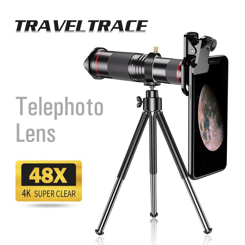 48x супер телеобъектив для смартфона с мощным приближением 4K Монокуляр с штатив Поддержка мобильный телефон Камера телескоп с большим радиу...