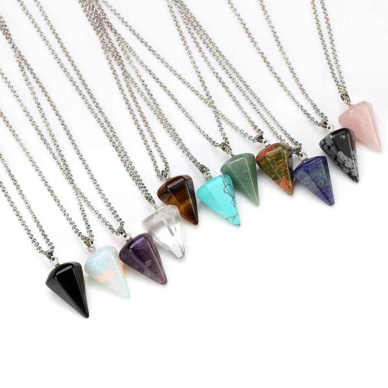 Natural Quartz Crystal Energy Healing Point Reiki Chakra Cut Gemstones Pendant Necklace With Metal Chain Crystal Stone Decor 2