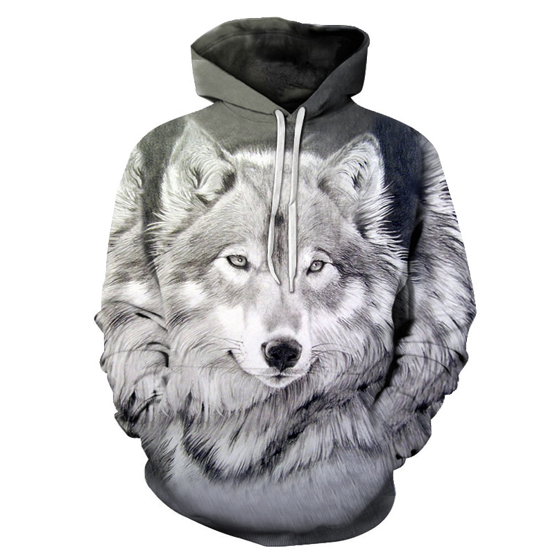 2019 New Funny Wolf Hoodies Men 3D Sweatshirt Harajuku Hoody Anime Tracksuit 3D Print Coat Casual Jacket Hooded Pullover S-6xl