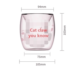 Image 5 - Cat Claw/Paw Cup Double Glass Coffee Mug Cartoon Cute Milk Juice Home Office Cafe Cherry Pink Transparent Double Glass  Paw Cup