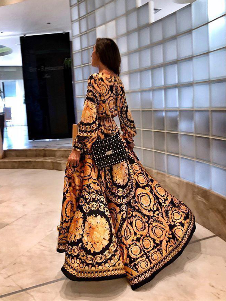 2020 New Style Fashion Elegant Women Sexy Boat Neck Glitter Deep V Neck Print Party Dress Formal Long Dress Sexy Clubwear 3