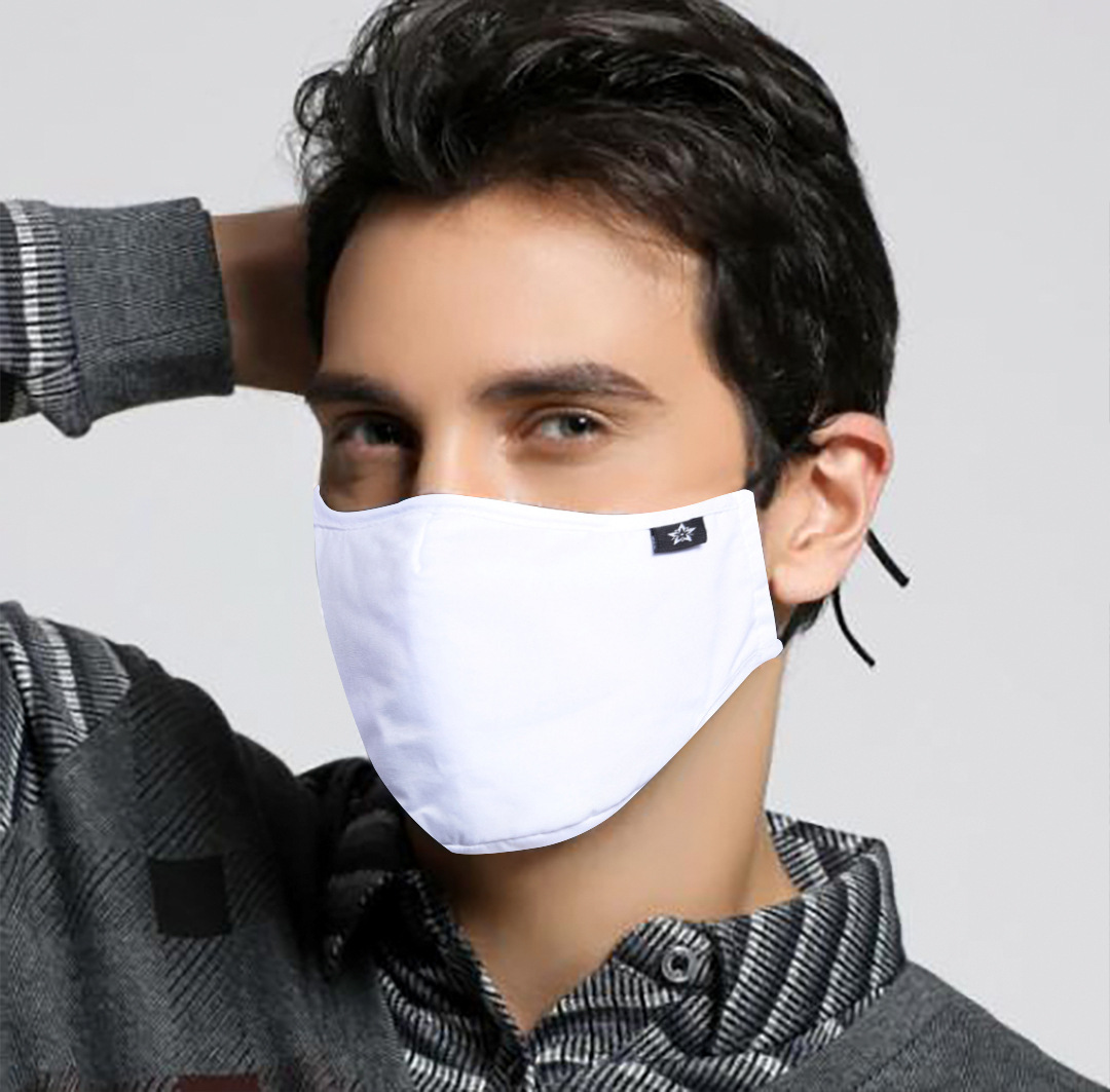 Men Fashion White Cotton Fabric PM2.5 Protective Face Dust Mask With Activated Carbon Filter Anti Proof Flu Mouth Masks Washable