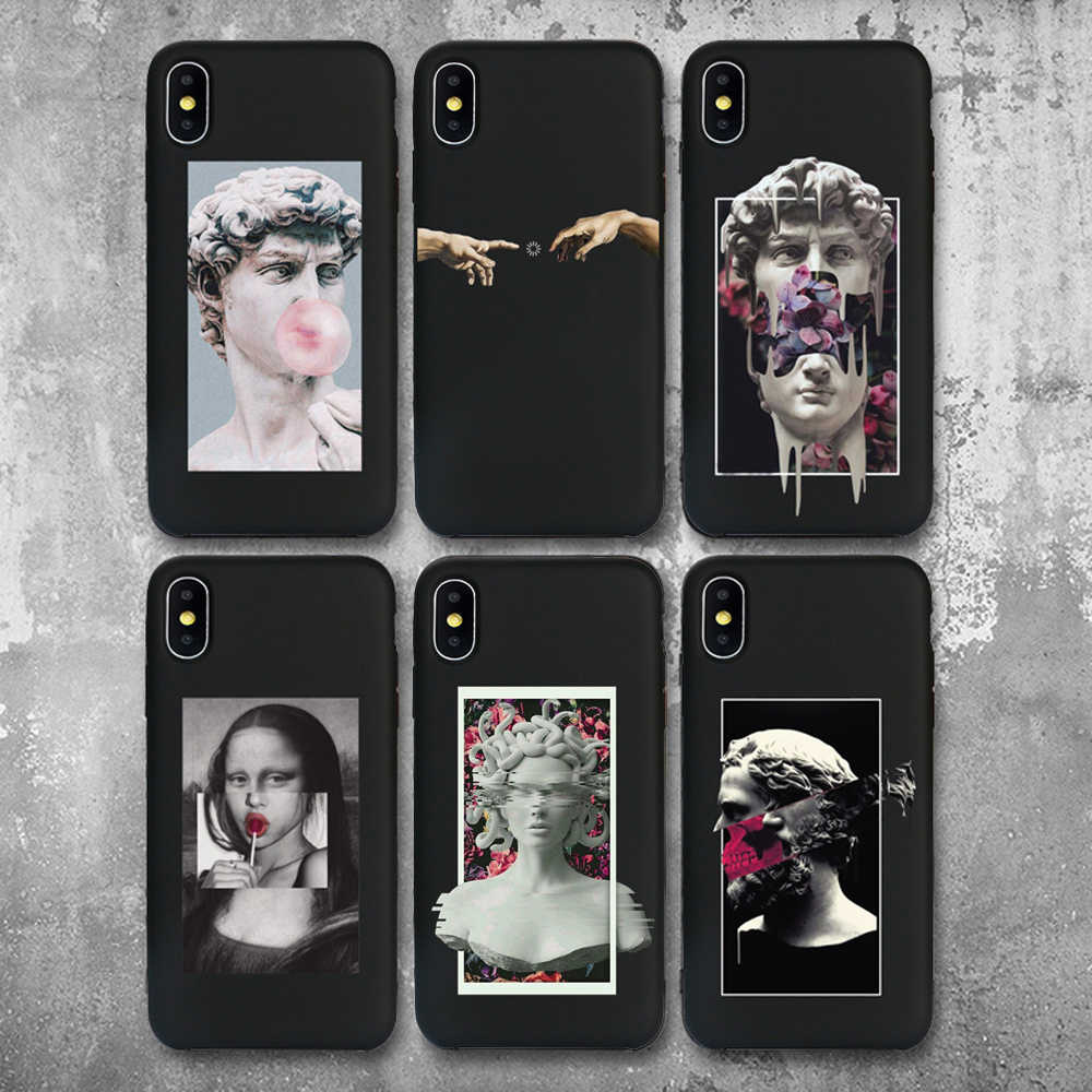 For iphone 11 Case Mona Lisa Art David Soft Silicone Phone Case cover For Apple iPhone 5S SE 6 6s 7 8 Plus XR XS 11Pro Max Case