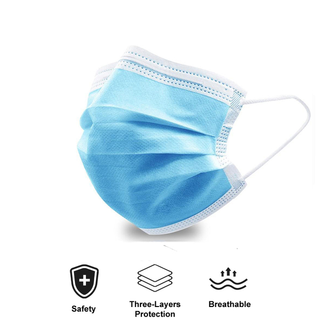 10/50/100 Pcs Face Mouth Protective Mask Disposable Protect 3 Layers Filter Dustproof Earloop Non Woven Mouth Masks 1