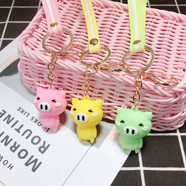 Ins Pigs Dolls Cartoon Pigs <font><b>Resin</b></font> Animals Pendant Keychain Kawaii <font><b>Figure</b></font> toys for Children Creative Birthday Gifts image