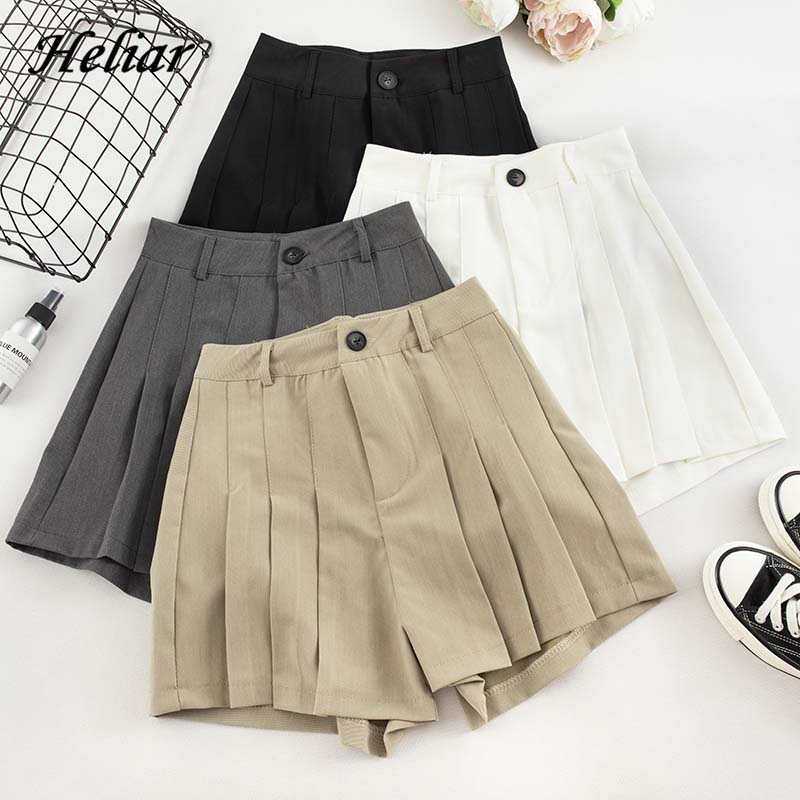 HELIAR 2019 Autumn Women Solid High Waist Pleated Shorts Campus Wide Leg Outwear Shorts INS Hot Casual Formal Shorts With Button