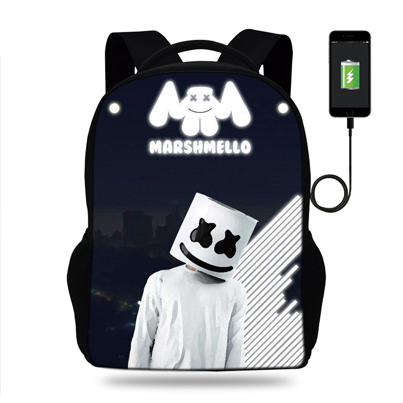 17inch Marshmallow 3D Mask Print Backpack USB Charging Backpacks For Teenage Boys&Girls School Bags Laptop Daily Backpacks