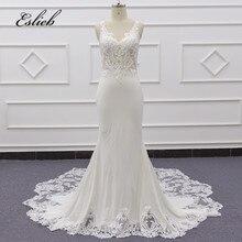 Eslieb lace mermaid satin wedding dresses 2020 custom made China Guangzhou Factory