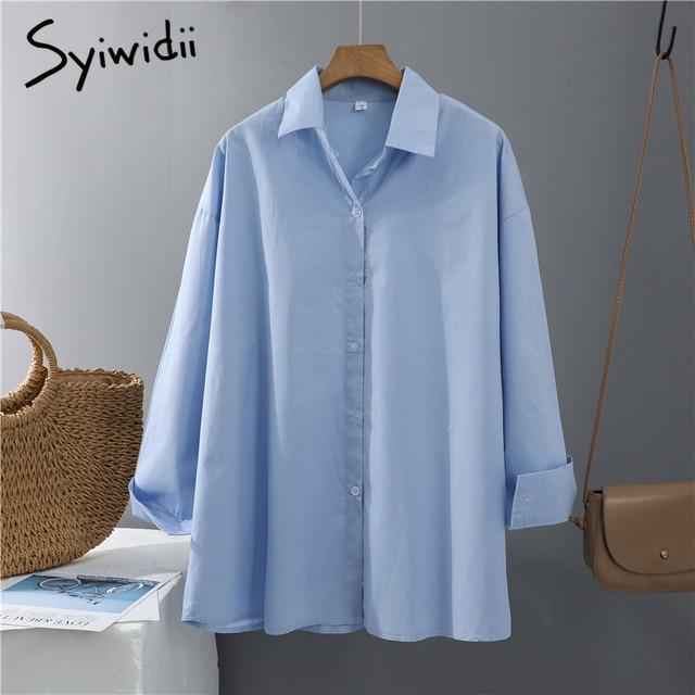 Syiwidii Women Blouses Office Lady Cotton Oversize Plus Size Tops Pink White Blue Long Sleeve 2021 Spring Korean Fashion Shirts 4