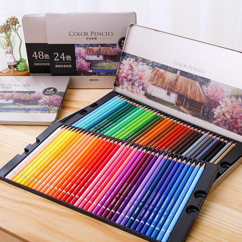 Juego De lápices De color aceitoso Deli, 24/36/48/72 colores, pintura al óleo, dibujo, arte, suministros para escritura dibujo, lapislázuli De Cor Art Supplies