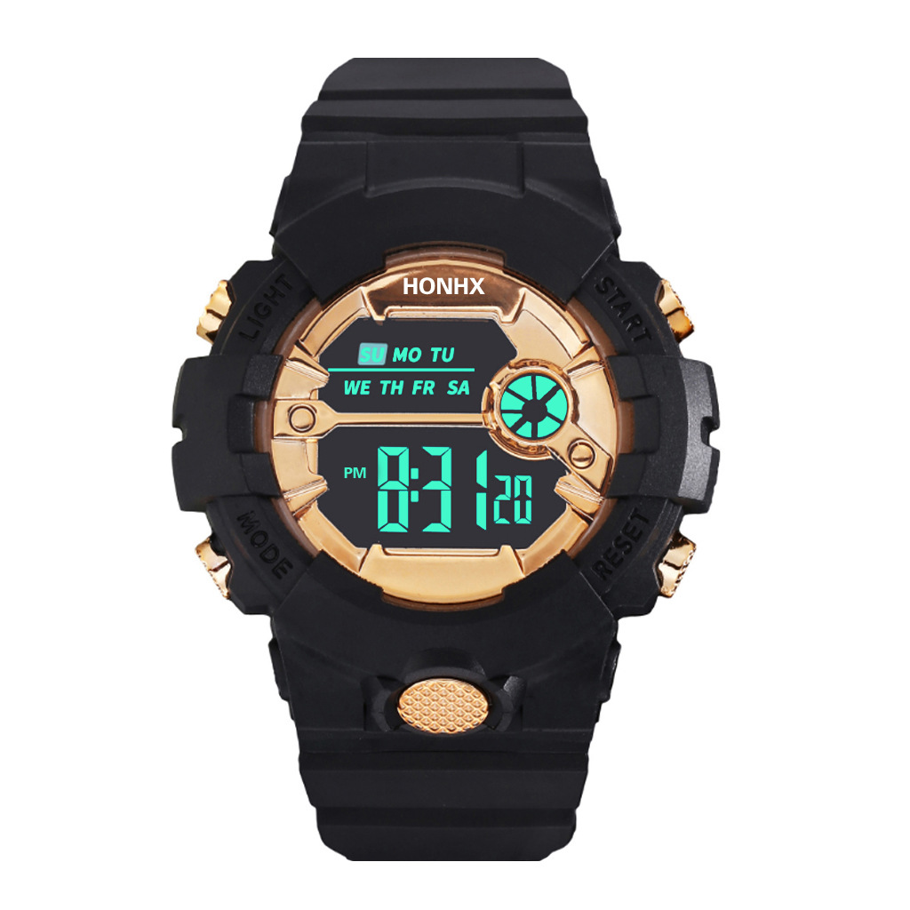 Black Gold Children's Watch For 7-18 Years School Student Digital Watches Luminous Multifunctional Alarm Clock Kids Hour A3488
