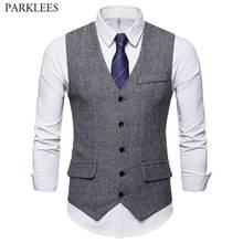 Gray Men's Herringbone Tweed Suit Vest 2021 Brand New Slim Fit Sleeveless Waistcoat Male Vintage Gentleman British Dress Vest
