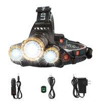 LED Scheinwerfer Taschenlampe Helle Zoomable Wiederaufladbare Scheinwerfer mit Rot Sicherheit Licht 4 Modi Wasserdicht Kopf Lampe Für Outdoor-in Scheinwerfer aus Licht & Beleuchtung bei
