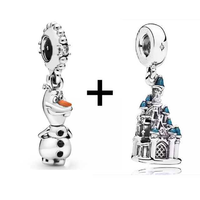 SEIALOY 2Pcs Frozen Charm Beaded Original Olaf Reindeer Sven Anna Princess Hans Prince Pendant Fit Pandora Bracelet Necklace