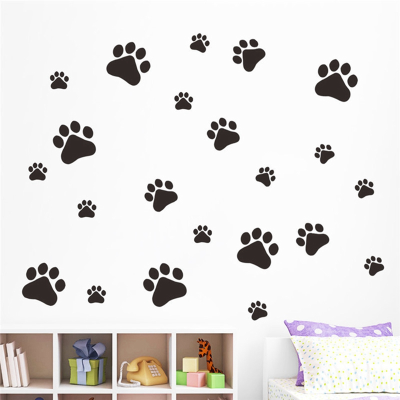 New Cartoon Dog Cat Walking Paw Print Wall Stickers For Kids Rooms Decal Pet Room Decoration WallArt Bowl Car Home Decal Poster