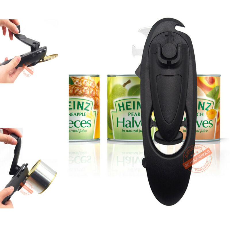 Manual Opener Tool Multi Functional New Black Heavy Duty Iron Tin Can Opener Cutter Comfort Handle Grip