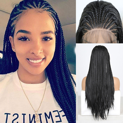 RONGDUOYI Heat Resistant Fiber Hair Synthetic Lace Front Wig Braided Box Braids Wigs For Black Women Long Black Hair Lace Wigs