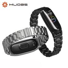 עבור Mi Band 4 רצועת מתכת רצועת יד עבור Xiaomi Mi Band 4 רצועת להקת 3 נירוסטה צמיד אבזרים חכם Wristbands
