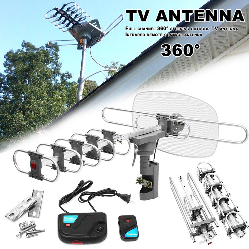 HD Signal Amplifier Outdoor Digital TV Antenna 150 Miles For Full HD 720p1080p 1080I 4K Television Gain Strong Signal