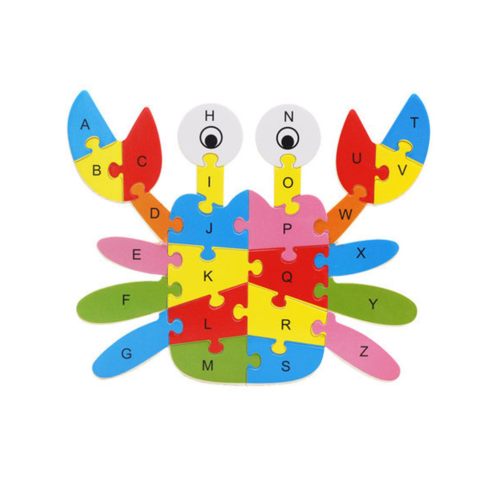 Baby Early Educational Toys For Kids Game Numbers Alphabet Learning Educational Toy Animals Cognitive Puzzle Card #B