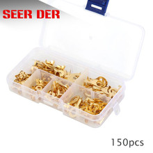 150PCS M3/ M4 M5 M6 M8 M10 Ring Lugs Ring Eyes Copper Crimp Terminals Cable Lug Wire Connector Non-insulated Assortment Kit