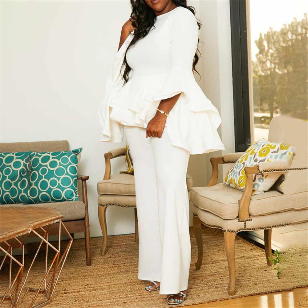 Automne hiver à manches longues volants blanc combinaison élégant bureau dame grande taille surdimensionné 5XL dames africaines fête longue combinaison