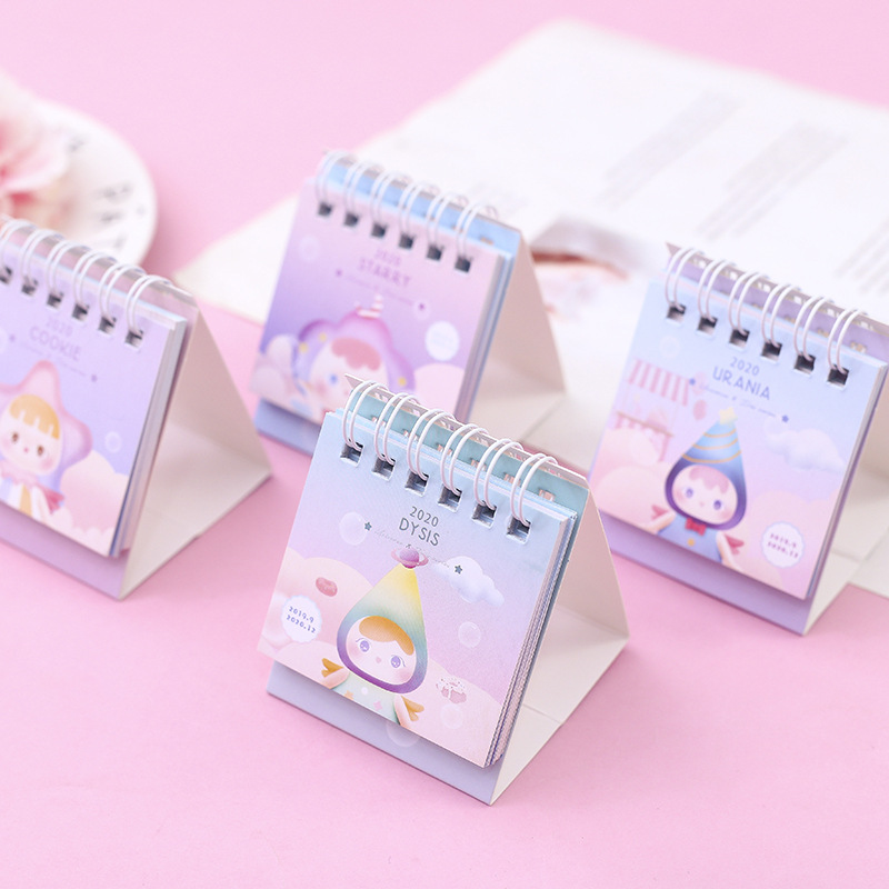 2020 Creative Iris Series Desk Calendar DIY Lovely Angel Baby Mini Calendars Daily Schedule Planner 2019.09-2020.12