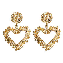 Hello Miss Fashion personality exaggerated metal pendant earrings simple heart-shaped embossed new womens