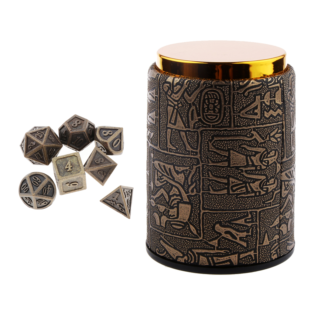 7 Pcs Metal Polyhedral Metal Dices Set (D20 D12 D10 D8 D6 D4) For DND Game Tabletop RPG And Math Teaching With Dice Cup -14mm