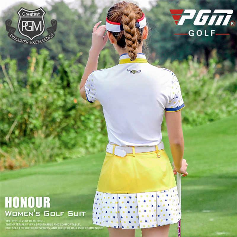 PGM 2019 جديد الغولف النساء الملابس مجموعة التي شيرت قصير كم T قميص الصلبة تنورة مجموعات الصيف الرياضية الرياضة جولف/ تنس الدعاوى