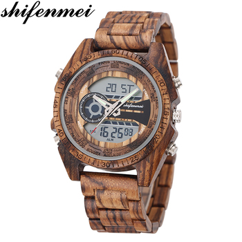цены Shifenmei Men Watch 2019 Wood Watches Male Top Brand Luxury LED Sport Clock Military Wristwatch Wooden Relogio Masculino Digital