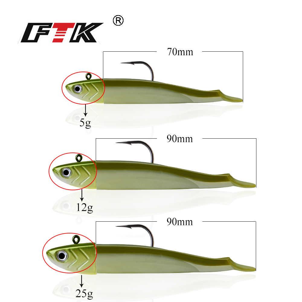 FTK Easy Shiner เหยื่อตกปลา 9 สี 7cm 5g/9cm1 2G/9cm25g Soft Lure ตะกั่ว JIG เหยื่อ BASS PIKE ตกปลา