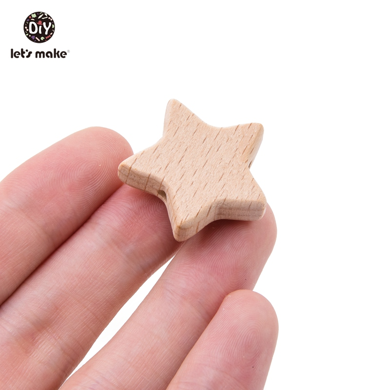 Let's Make Wood Teether 50Pcs Star Shape Wooden Beads Bpa Free Teething Toys Diy Pacifier Chain Beech Wood Bead Baby Teethers (star)
