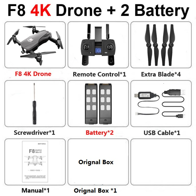 F8 GPS Drone with Two-axis anti-shake Self-stabilizing gimbal Wifi FPV 1080P 4K Camera Brushless RC Quadcopter