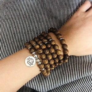 Image 3 - Pulseira de contas de yoga 108, unissex, de madeira de sândalo, budista, oração, contas de lotus, colar, rosário
