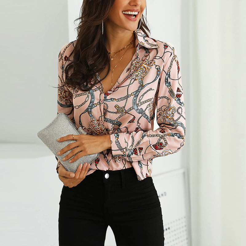 Spring Sexy Shirts Women Floral Chain Print Elegant Blouse Shirt Office Lady Long Sleeve Womens Collar Button Shirts Streetwear