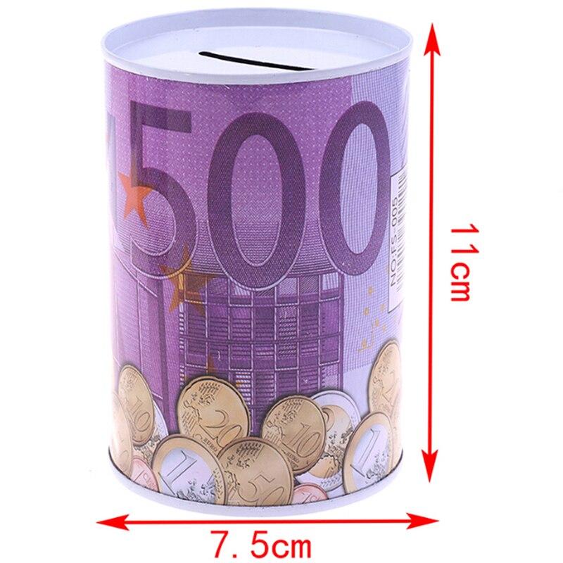 Tinplate cilindro mealheiro euro dólar caixa de imagem casa caixa de poupança de dinheiro decoração de casa caixas de dinheiro