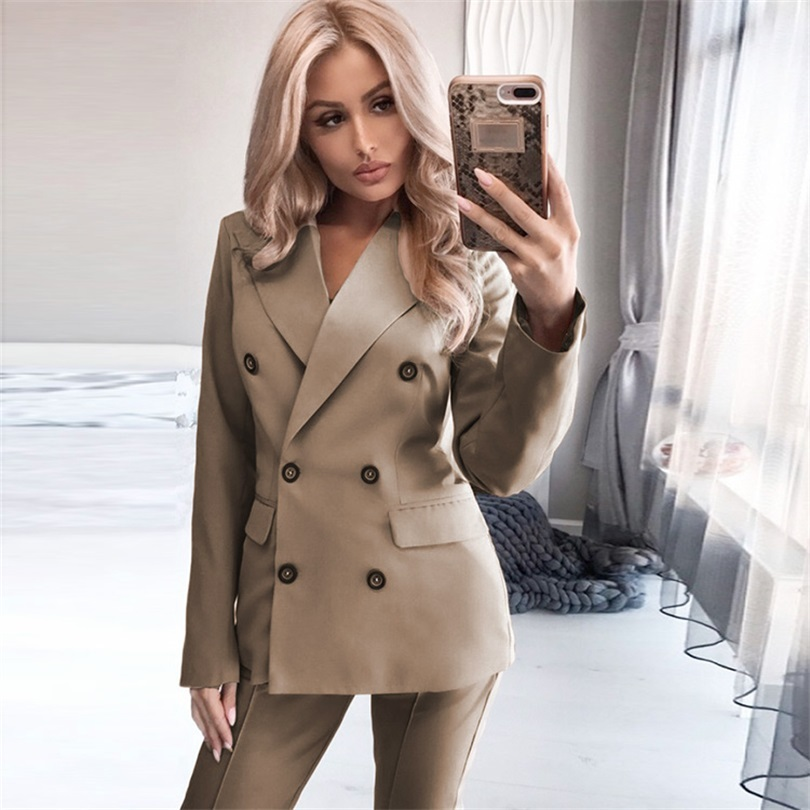 TYHRU Women Autumn Solid Color Lapel Long Sleeve Double Breasted Blazer Pants Two-piece