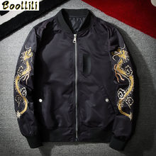 Bomber Jacket Dragon Eagle Embroidery Men's Jacket Stand Collar Fashion Outwear Autumn Men Coat Bomb Baseball Jackets(China)