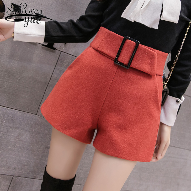 High Waist 2019 New Autumn And Winter Woolen Wide Leg Short Casual Pants Elegant Streetwear Black Shorts Women 7802 50