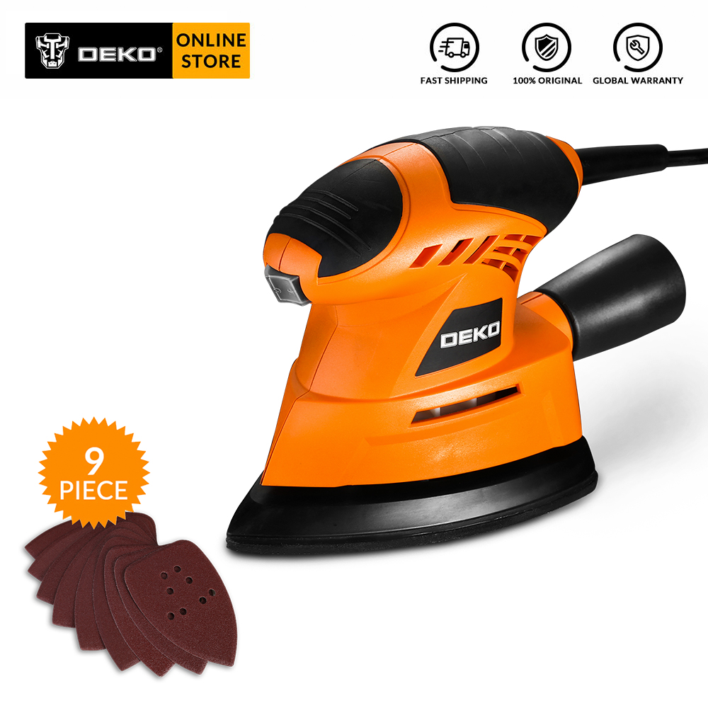 Original DEKO 2019 NEW Mouse Sander Wood Working Dust Exhaust Mouse Sander  Easy To Use With 9 Sheets Of Sandpaper