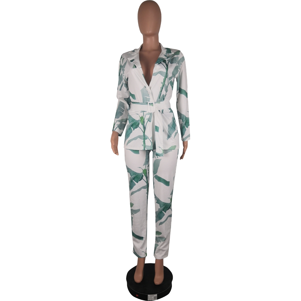 Vintage Women Pant Suit Leaves Print Casual Notched Blazer Jacket & Pant 2020 Autumn Sexy Office Wear Two Piece Set With Belt