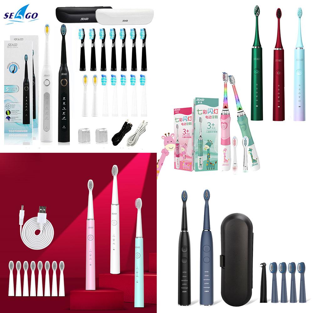 Seago – brosse à dents électrique sonique SG-507 548 avec minuterie pour adulte, 5 modes, chargeur USB, kit de têtes de rechange