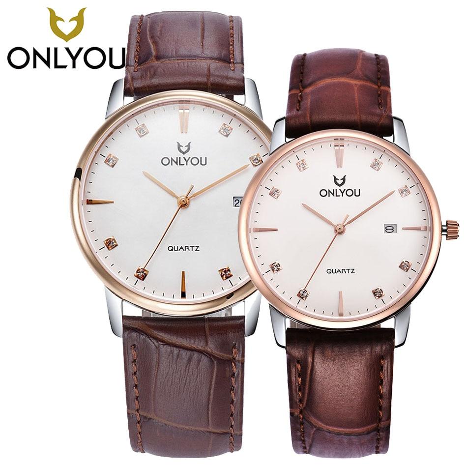 ONLYOU Fashion Women Dress Watches Leather Watchband Rose Gold Lovers Watch Analog Display Quartz Wristwatch 6965