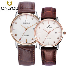 ONLYOU Fashion Women Dress Watches Leather Watchband Rose Gold Lovers Watch Analog Display Quartz Wristwatch 6965 стоимость