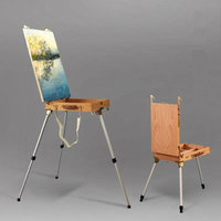 Beech Wood Oil Painting Easel Stand Portable Easel Box Art Supplies Painting Box Easel Set Foldable Sketch Art Easel For Artist