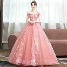 Женское винтажное бальное платье розовое с открытыми плечами